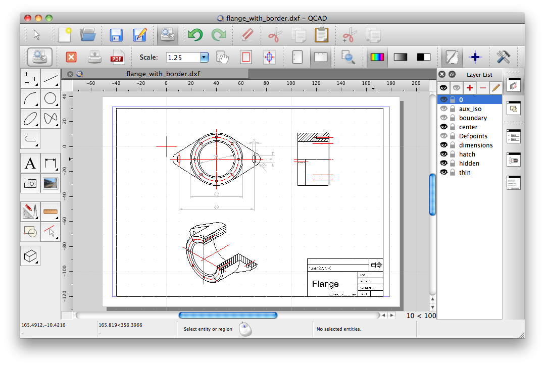 Another 2d cad option is caduntu, which is a qt4 port of qcad